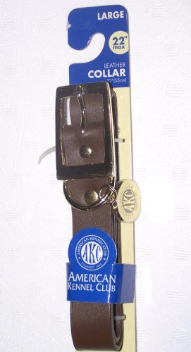 American Kennel Club AKC Large Dog Collar Leather up to 22""