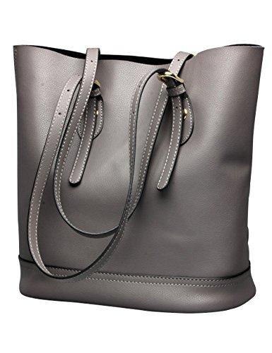 Calfskin Purse Bag - Tote Shoulder Handbag, Genuine Leather Bucket Purses Bags Large Capacity for Women (Grey)