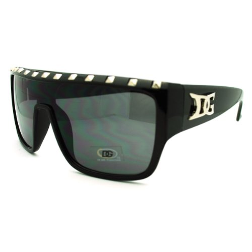 Black Studded Flat Top Sunglasses Bold Square DG Fashion Sunglasses - Dg Mens Sunglasses