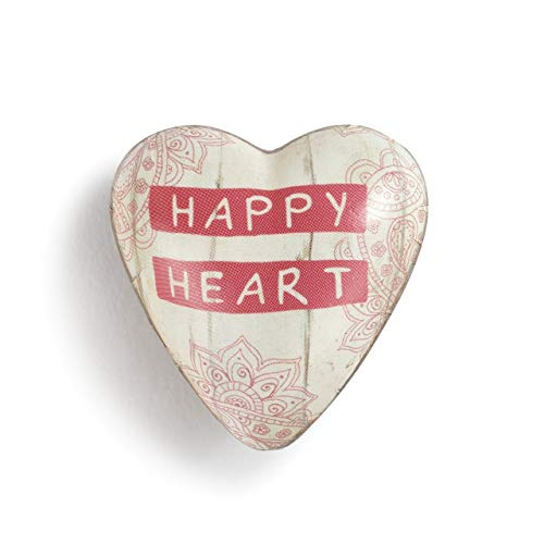 DEMDACO Happy Heart Floral Pink 2 x 2 Resin Stone Collectible Art Heart Token Figurine