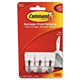 3M Commercial Office Supply Div. Products - Hooks w/ Adhesive Strips, Small Wire, Holds 1/2lb., 3/PK, WE - Sold as 1 PK