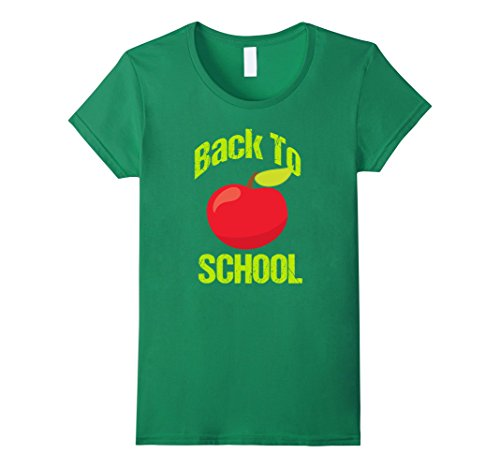 Womens Back to School Apple T Shirt | Cute Back to School T Shirt Large Kelly Green