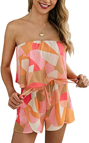 (ECOWISH Women Sexy Off Shoulder Floral Printed Playsuit One Piece Summer Strapless Romper Beach Short Jumpsuit 958Orange X-Large)