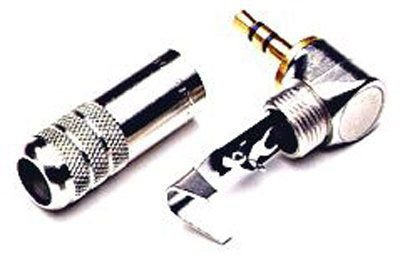 Switchcraft 35HDRANAU 3.5mm / 1/8in Mini Right Angle Stereo Plugs with Gold-Plated Finger - Silver Handle