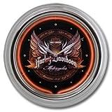 Harley-Davidson® Eagle & Wings Bar & Shield Neon Clock. Vibrant Graphic. 12-Inch Diameter. HDL-16626