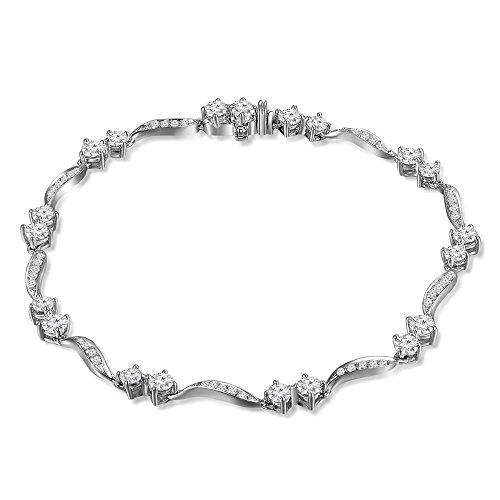 White Gold Diamond Wave Bracelet (MaBelle 18K White Gold Diamond Double Spots Wave Segment Bracelet (2.10 cttw))