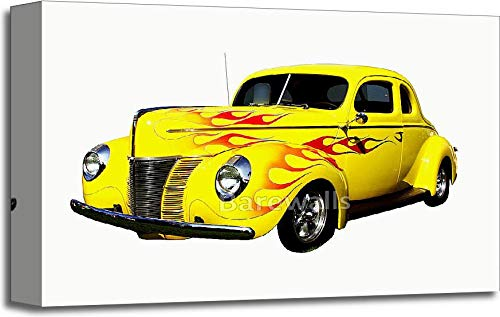 (Barewalls Flamed Hot Rod Gallery Wrapped Canvas Art (12in. x 18in.) )