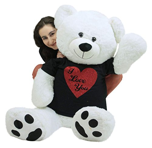 Very Big Valentine White Teddy Bear Wears Removable Black and Red Glitter T-shirt I Love You Soft 52 Inches (Large White Teddy Bear 5 Feet compare prices)