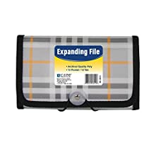 C-Line 13-Pocket Poly Expanding File, Coupon Size, Includes Tabs, Button and Elastic Closure, Plaid Design (58412)