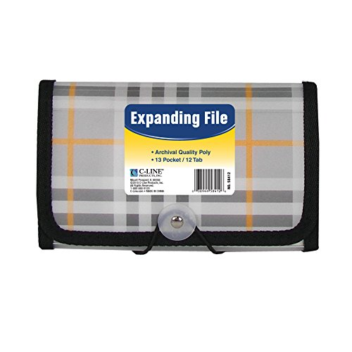 Grocery Coupon Organizer - C-Line 13-Pocket Expanding File, Coupon Size, Includes Tabs, 1 File, Plaid Design (58412)