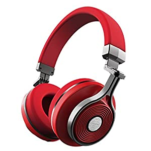 Bluedio T3 Extra Bass Bluetooth Headphones On Ear with Mic, 57mm Driver Folding Wireless Headset, Wired and Wireless Headphones for Cell Phone/TV/PC Gift (Red)