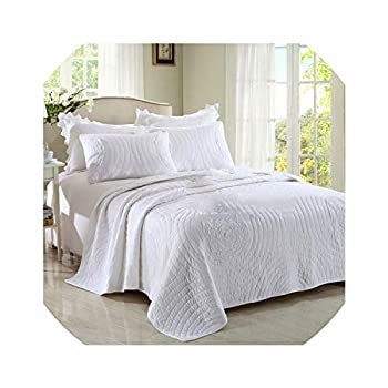 Image of Home and Kitchen Bedspreads Cotton Quilt Set 3Pcs Quality Bedding Quilts Quilted Bedspread Bed Cover King Queen Size Coverlet Set Champagne White,King 3Pcs Set,White