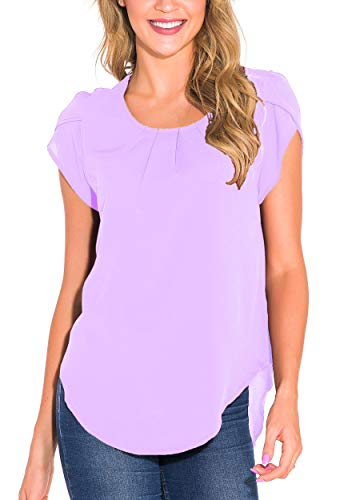 Fronage Women's Summer Cap Sleeve Tops Loose Office Work Casual Keyhole Back Shirts Blouse (Small, Purple) (Sleeve Blouse Short Petite)