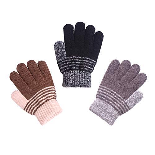 kimmyku 3 Pairs Children Kids Boy Soft Cashmere Knitted Winter Gloves Mittens Lined Black Grey Khaki, 3-6years
