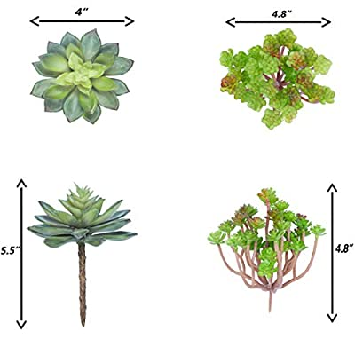 Bioexcel Fake Succulent Plants - Pack of 11 Artificial Succulents - Without Pots Faux Succulents for Indoor and Outdoor Home Decor
