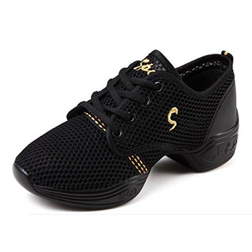 Or Talon Chnhira Semelle Jazz Souple Femme Sneakers Danse Et Respirant Chaussure De Gros Maille Noir w6XAw4