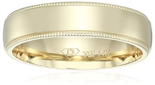 Decadence Unisex 14K Yellow Gold 5mm Comfort Fit Milgrain Wedding Band, 5 ()