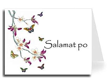 butterflies watercolor tagalog salamat po thank you card set 10 papyrus font