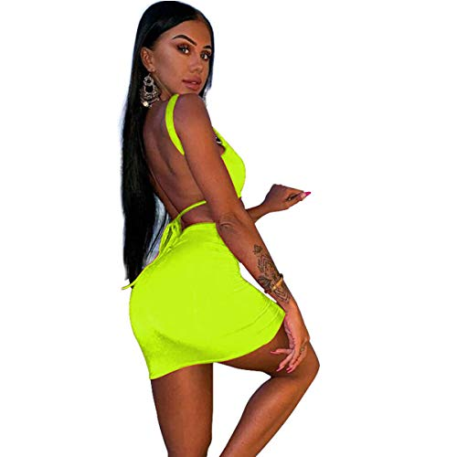 Women's Sexy Two Pieces Set Backless Lace Up Tank Top Bodycon Skirt Mini Dress Neon -