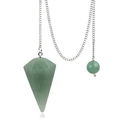 Green aventurine Crystal Pendulum Stone Healing Quartz 12 Facet Reiki Charged Bead End Free Pouch (Green aventurine)