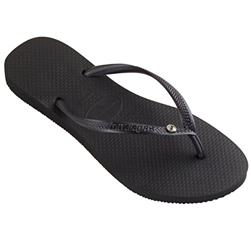 - Womens Havaianas Slim Crystal Glamour Sw Thongs Rubber Diamond Flip Flop - Black - 9