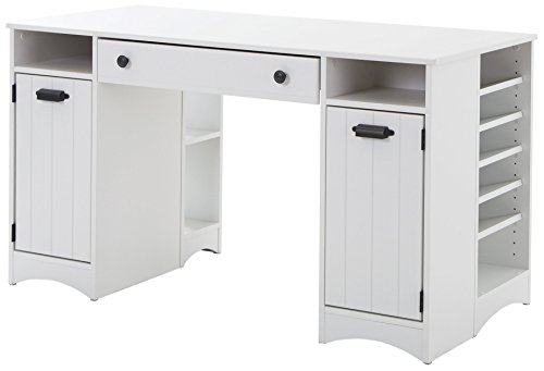 White Storage Desk (Artwork Craft Table with Storage - Large Work Surface - Multiple Storage Spaces - Pure White by South Shore)