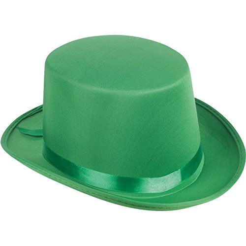 Loftus International Satin Ribbon Halloween Costume Top Hat Green One-Size (7 1/4