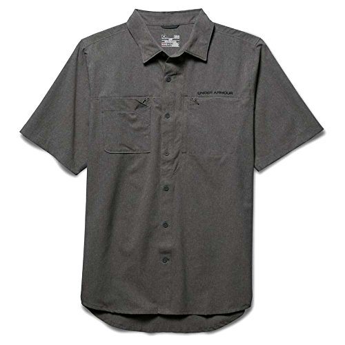 Under Armour Armourvent Fishing Woven Ss Top   Mens Granite Large