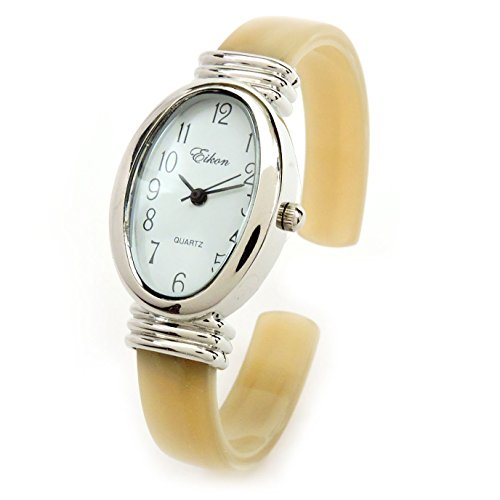 Ivory Cuff Bangle - Horn Silver Ivory Acrylic Band Silver Oval Face Women's Bangle Cuff Watch For Women