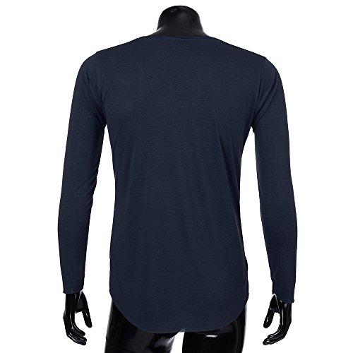 Musclé Marine Pure Hommes Base Morchan Longues Solide Bouton ❤ Shirt Couleur Tops Manches Blouse Tee ZwqHS