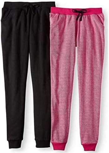 Pink Velvet Twin Pack Solid and Marled Fleece Joggers 2 Pack Girls Size 10//12 Medium