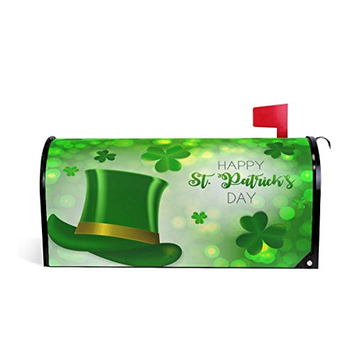 Wamika Happy Irish St. Patrick's Day Mailbox Cover Magnetic Oversized, Green Leprechauns Hat Shamrock Letter Post Box Cover Wrap Decoration Welcome Home Garden Outdoor 25.5''Lx21''W -