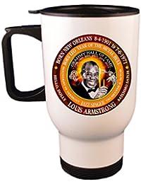 Louis Armstrong 50's Singer Travel Mug / Cup, Astrology Leo Zodiac Metal Bull