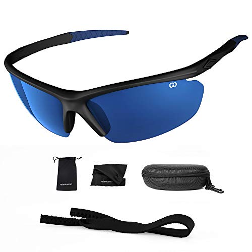 (Polarized UV400 Sport Sunglasses Anti-Fog Ideal for Driving or Sports Activity (Black, Mirror Blue))
