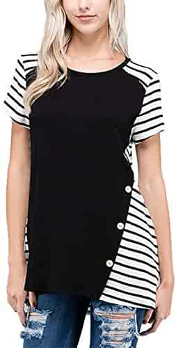 484bb169001354 DREAGAL Womens Stripe Contrast Short Sleeve Casual Crew Neck Loose Tunic  Tops Blouse with Buttons