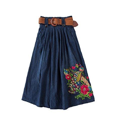 Des Bleu Oudan Ceinture Florale En Femmes Jupe Mi Plissée Avec Brodé Maxi Denim longue EOAqwHO