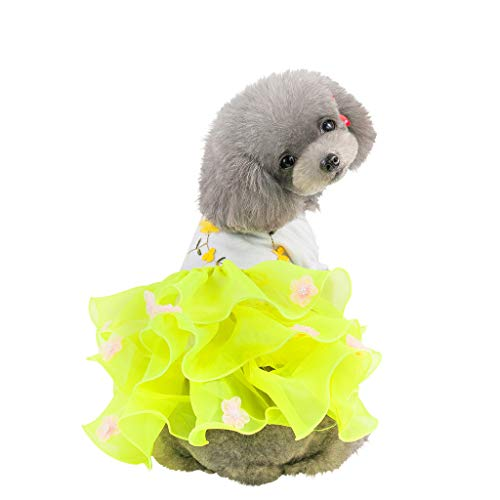 (Glumes Pet Dog Cat Dress Summer Bubble Skirt Ruffle Breathable Dress Clothes Princess Skirt for Small Dogs Cats for Summer Spring)