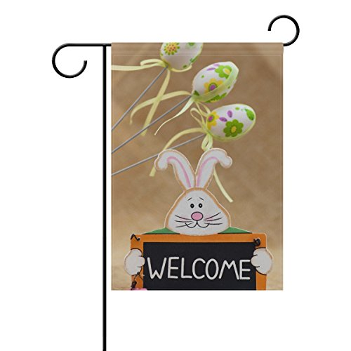 ALAZA Double Sided Easter Bunny with Sign Welcome and Three