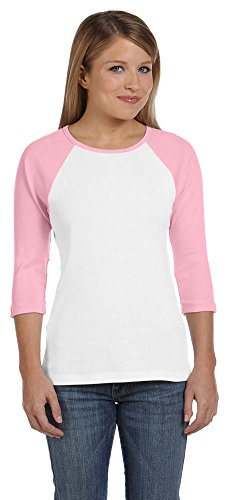 Bella + Canvas Womens Stretch Rib 3/4-Sleeve Contrast Raglan T-Shirt (B2000)- WHITE/PINK,M