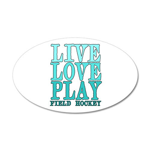 CafePress - Live, Love, Play - Field Hockey Wall Decal - 20x12 Oval Wall Decal, Vinyl Wall Peel, Reusable Wall Cling