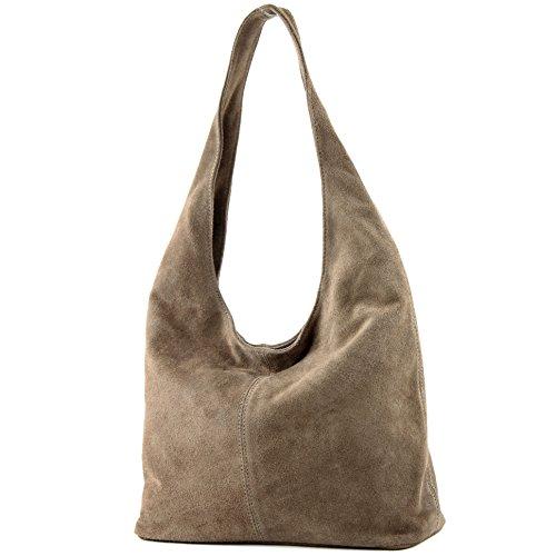 Damentasche à Sac de Wildleder Modamoda ital bandoulière à T150 Stone cuir en Sac bandoulière pqBWTwt