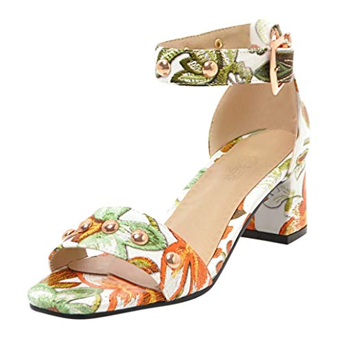 Loosebee Women'S Summer Print With Casual Platform Thick And Casual Square With High Heels Party Sandals ()