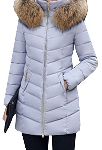 Down Collar Women Thick Jacket Winter Grigio Coat Fur Cotton Blackmyth Long Outwear gwRw1