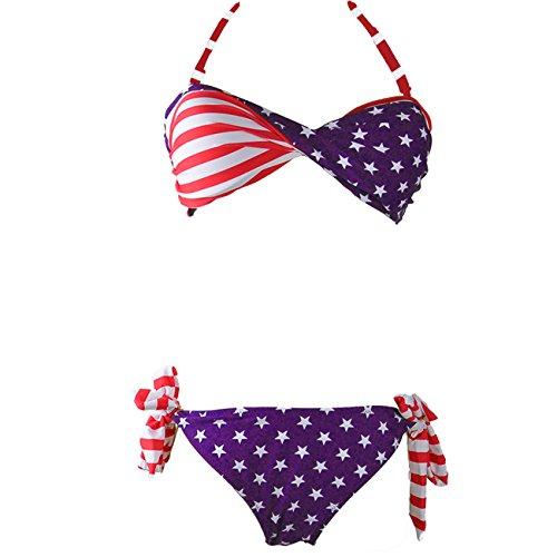 eef515d6dd DDSOL Women s Bathing Suit American USA Flag Push up Tassel - Import It All