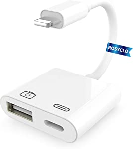 Lightning USB Camera Adapter,Apple Certified USB Female OTG Reader Connector with Charging Port iPhone Charger Cable Compatible iPhone/iPad/iPod,USB Drive,MIDI Keyboard,Mouse iOS9.2-14+ White Rosyclo