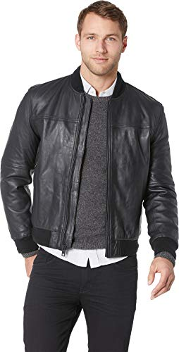 Marc New York by Andrew Marc Men's Baseball Jacket Black X-Large