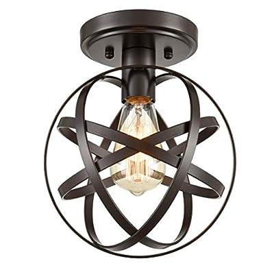 Dazhuan Antique 1-Light Metal Globe Chandelier with Cage Flush Mount Ceiling Lamp Light Fixture