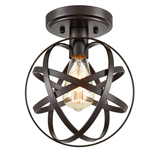 Caged Foyer - Dazhuan Antique 1-Light Metal Globe Chandelier with Cage Flush Mount Ceiling Lamp Light Fixture