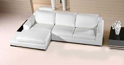 Vig Furniture Soho Modern White Leather Sectional Sofa