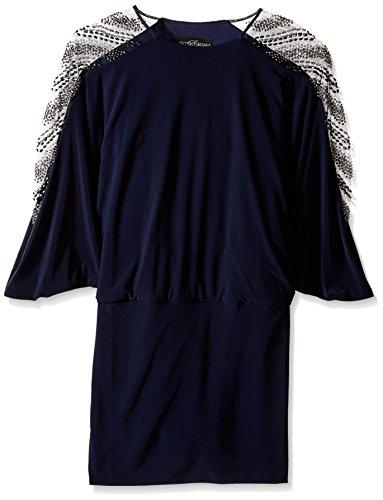 Embellished Blouson (Betsy & Adam Women's Embellished Sleeve Blouson Dress, Navy/Gunmetal, 12)